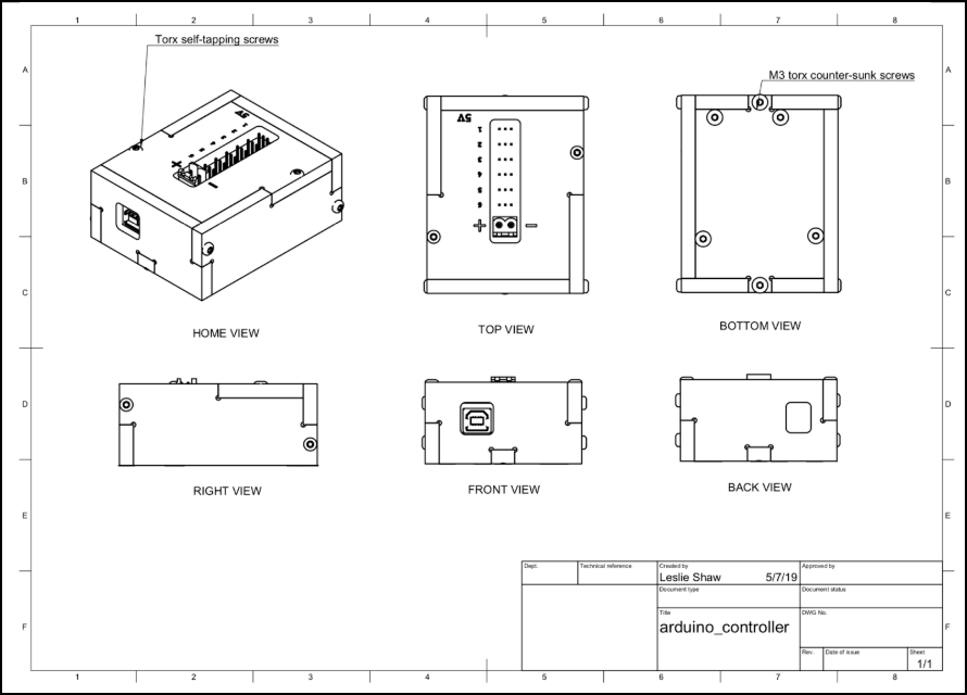 Mechanical drawing of enclosure