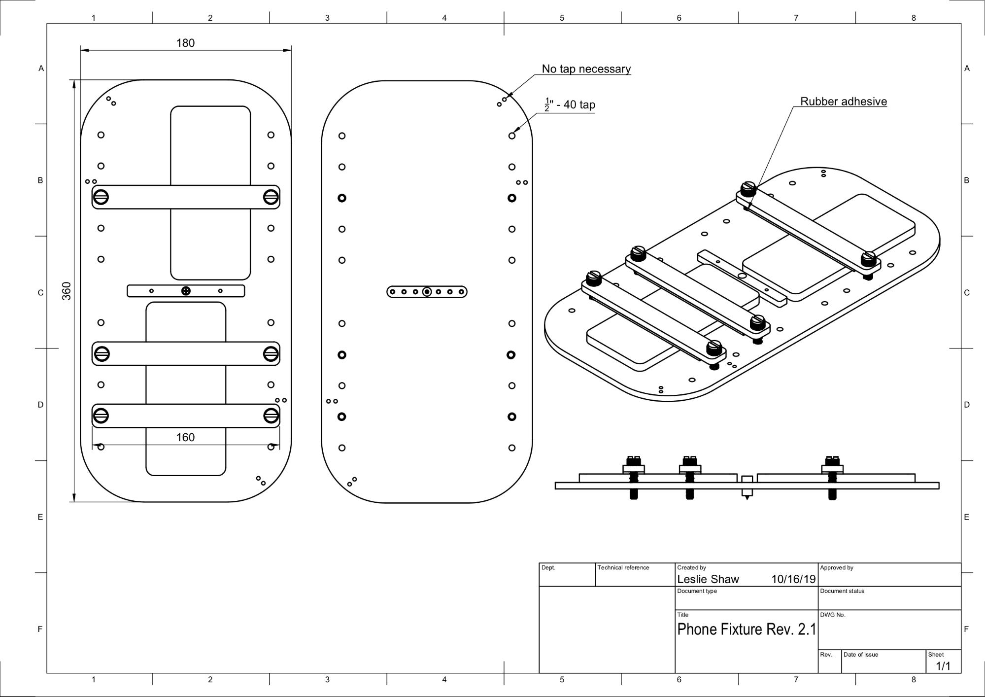 CAD drawing of phone fixture