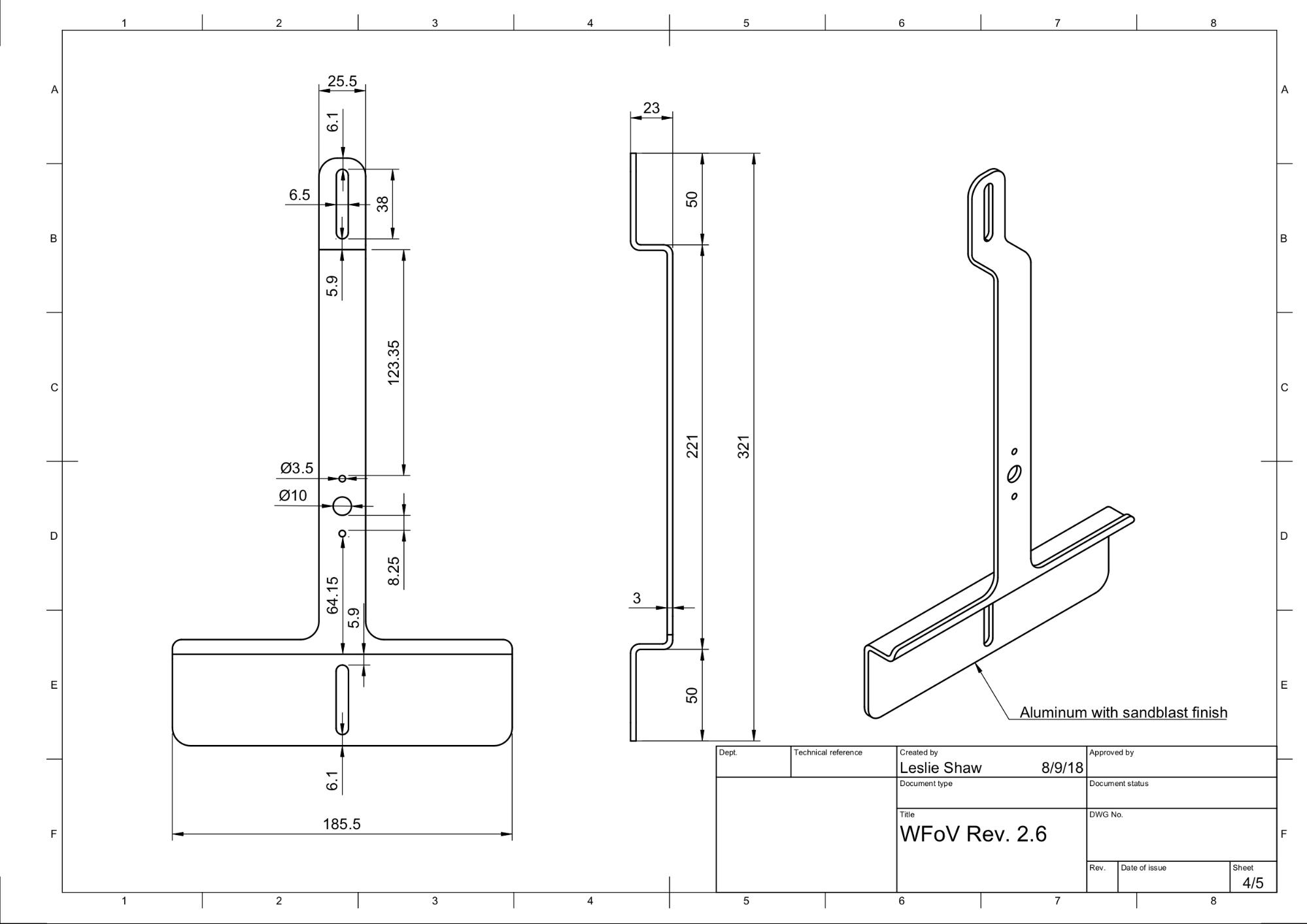 Mechanical drawing of tablet mount
