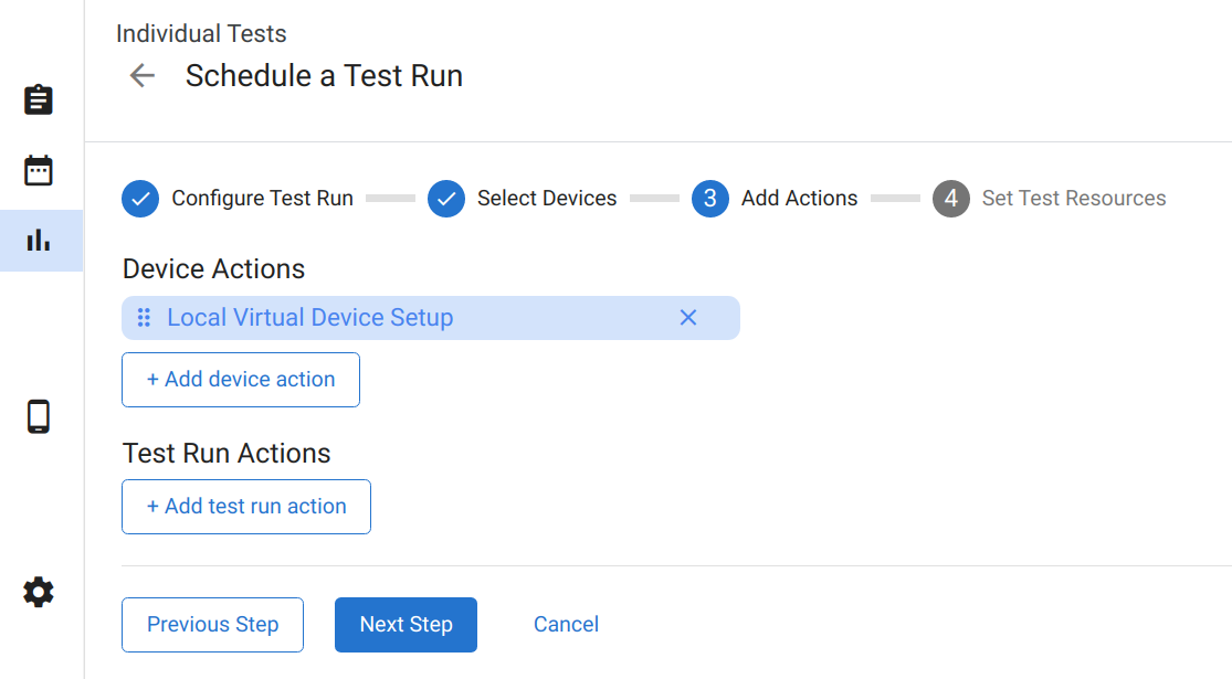 Virtual Device Actions