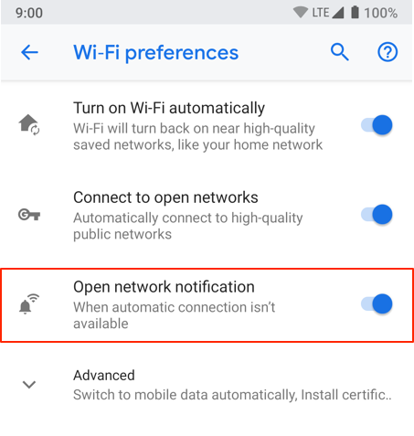Open network notification feature